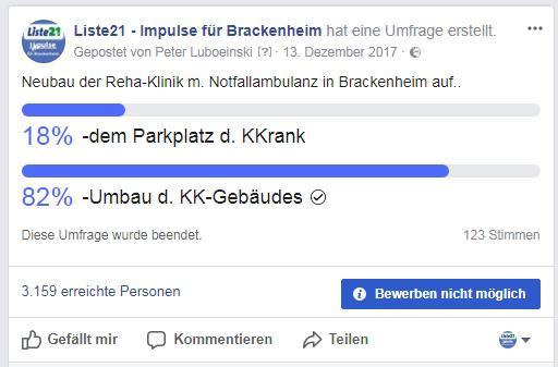 Liste21 Brackenheim | Umfrage zum Standort Neubau RehaKlinik in Brackenheim